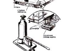 Схема установки опорных домкратов под основание