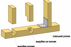 Вариант крепления вертикальных стоек каркаса к брусу нижней обвязки