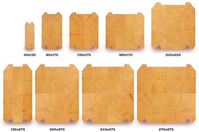 Схема клеенных брусьев с размерами