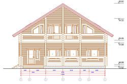 Схема двухэтажного дома из бруса с размерами