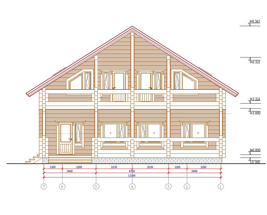 Схема двухэтажного дома из