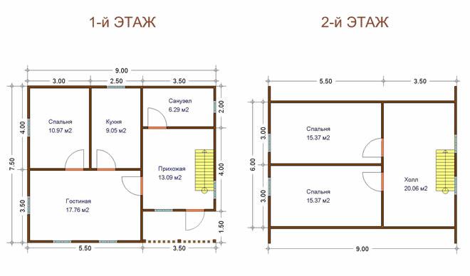 План двухэтажного дома из
