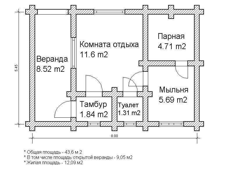 Проект сруба для бани