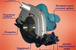 Схема устройства циркулярной пилы.