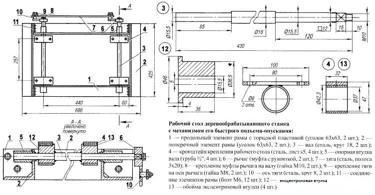 Схема стола для циркулярной пилы с механизмом подъема-опускания